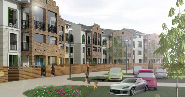 """Low-rise high-comfort residential project in """"Elki-Park"""" area. Project, 2015 © Arkhstroidesign"""