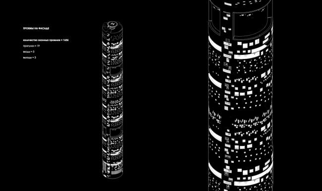 Дипломная работа Дарьи Зайцевой «Городская тюрьма». Руководители: Евгений Асс, Кирилл Асс. Проемы на фасаде © МАРШ, 2016