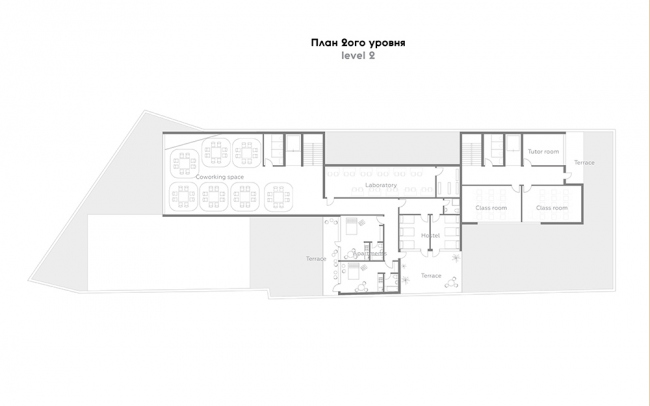 Проект P I C. План второго этажа. Авторы: Анна Петрова, Патрисия Урлан, Джефри Стивенс. Тьютор: Хироки Мацуура, бюро MASA