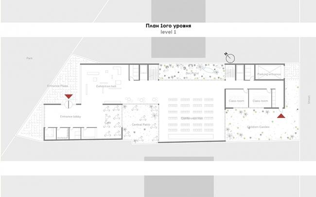 Проект P I C. План первого этажа. Авторы: Анна Петрова, Патрисия Урлан, Джефри Стивенс. Тьютор: Хироки Мацуура, бюро MASA
