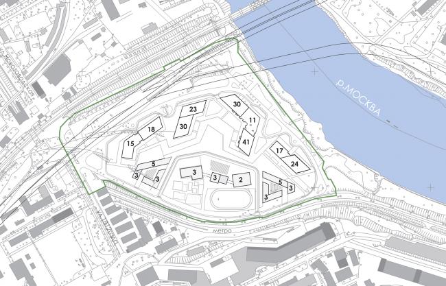 Многофункциональный жилой комплекс на территории завода «Филикровля». Схема этажности комплекса. Проект, 2015 © Архиматика