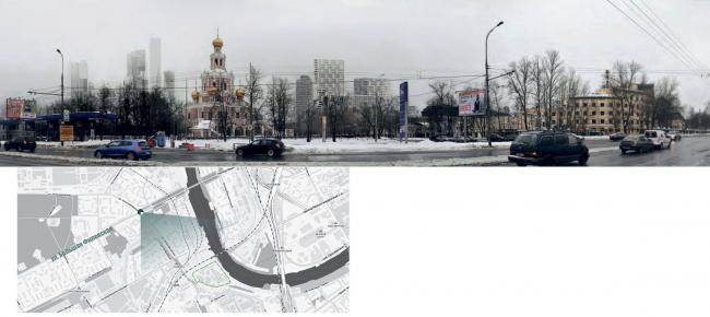 Mixed-use complex on the territory of the Milikrovlya factory. Photographic montage (crossing of Bolshaya Filevskaya and Novozavodskaya). Project, 2015 © Archimatika