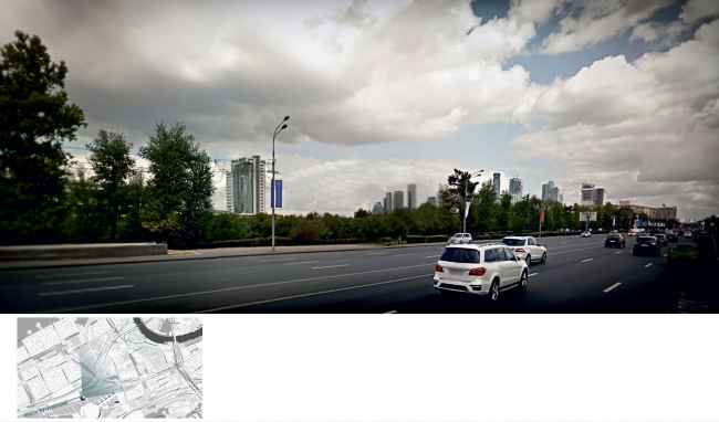 Mixed-use complex on the territory of the Milikrovlya factory. Photographic montage (view from the side of the Kutuzovsky Prospect). Project, 2015 © Archimatika