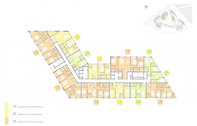 Многофункциональный жилой комплекс на территории завода «Филикровля». План типового этажа (дом 2). Проект, 2016 © Архиматика