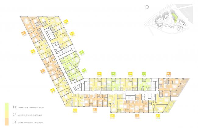 Многофункциональный жилой комплекс на территории завода «Филикровля». План типового этажа (дом 3). Проект, 2016 © Архиматика