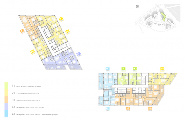 Многофункциональный жилой комплекс на территории завода «Филикровля». План типового этажа башни (дом 3). Проект, 2016 © Архиматика