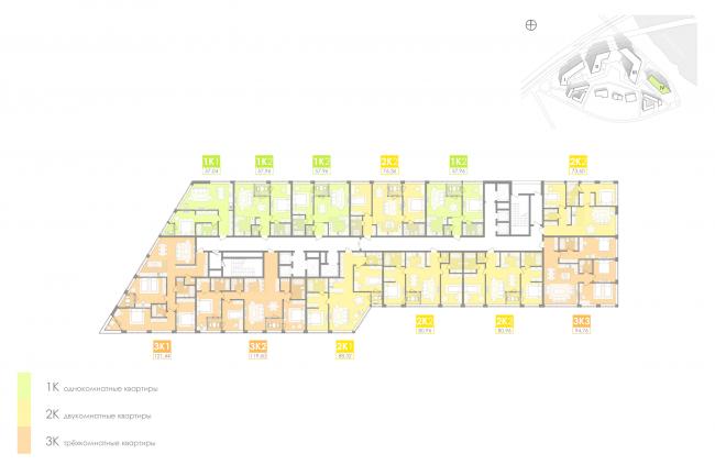 Многофункциональный жилой комплекс на территории завода «Филикровля». План типового этажа башни (дом 4). Проект, 2016 © Архиматика