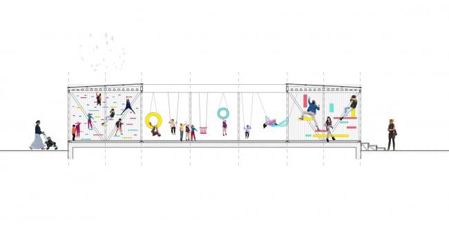Разрез павильона в микрорайоне Центральный. Иллюстрация предоставлена участниками проекта «Арт-дворы»