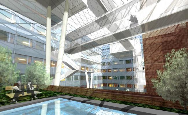 Интерьер атриума СДМ-банка © Архитектурное бюро Асадова