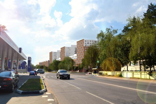 Жилая застройка в посёлке Красково. Жилой комплекс. Вид со стороны Егорьевского шоссе. Проект, 2016 © АБ Остоженка
