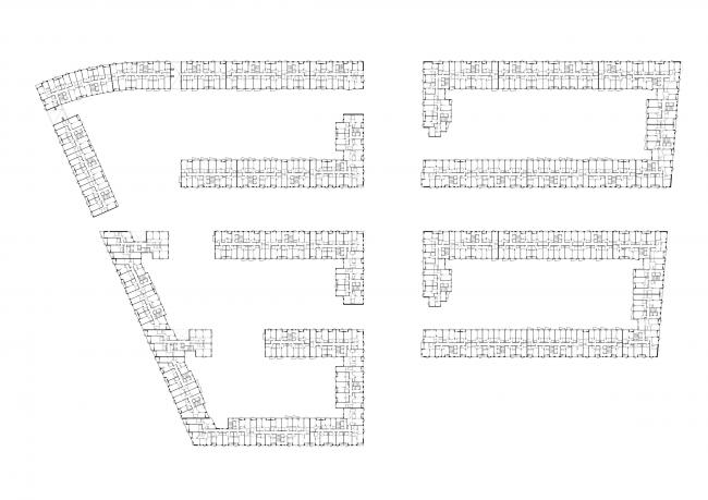 Жилая застройка в посёлке Красково. Жилой комплекс. План 5 этажа © АБ Остоженка