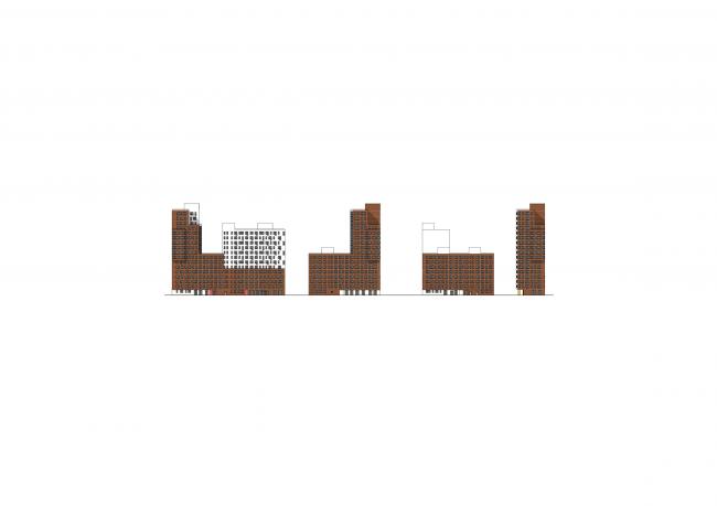 Жилая застройка в посёлке Красково. Жилой комплекс. Развертка по внутреннему бульвару © АБ Остоженка