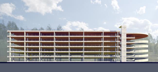 Жилая застройка в посёлке Красково. Надземный многоуровневый паркинг. Проект, 2016 © АБ Остоженка