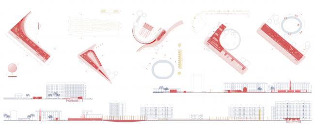 Дворулица. Дипломный проект Алёны Шляховой. Студия архитектурного бюро «Меганом». Планы и развёртки. МАРХИ, 2016