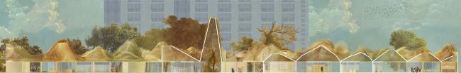 Ларьки в Бирюлево. Дипломный проект Кристины Егорушкиной. Студия архитектурного бюро «Меганом». Разрез. МАРХИ, 2016