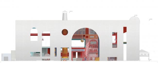 Городская комната. Дипломный проект Влада Капустина. Студия архитектурного бюро «Меганом». Главный фасад. МАРХИ, 2016