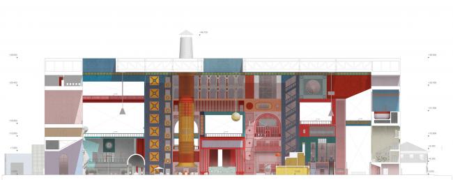 Городская комната. Дипломный проект Влада Капустина. Студия архитектурного бюро «Меганом». Разрез. МАРХИ, 2016