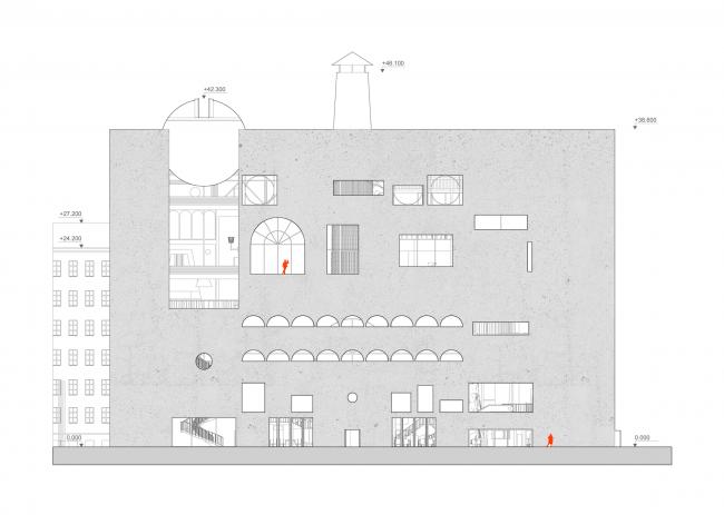 Городская комната. Дипломный проект Влада Капустина. Студия архитектурного бюро «Меганом». Боковой фасад. МАРХИ, 2016