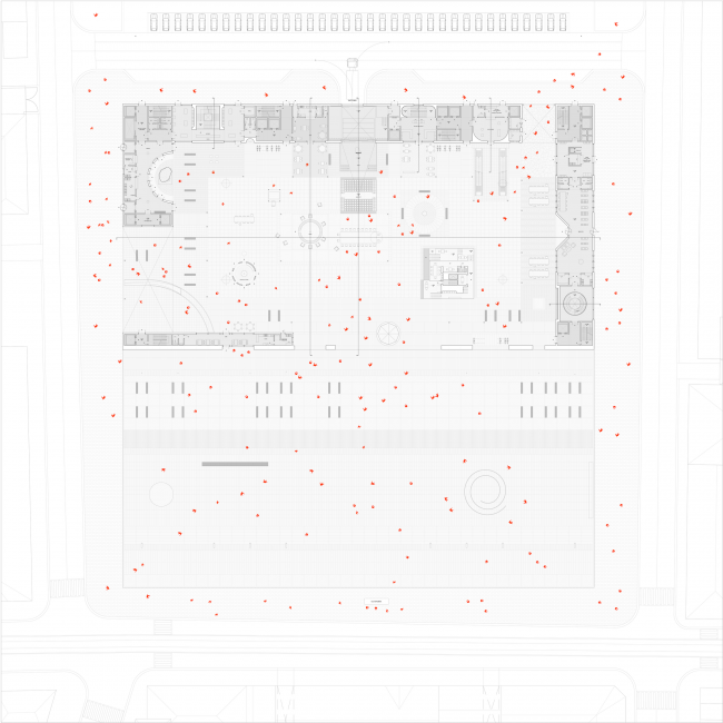 Городская комната. Дипломный проект Влада Капустина. Студия архитектурного бюро «Меганом». План. МАРХИ, 2016