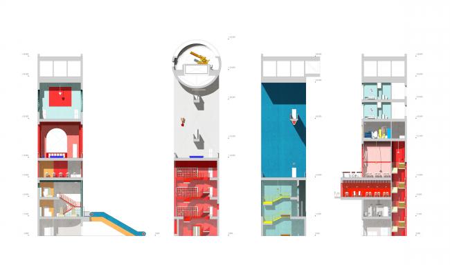 Городская комната. Дипломный проект Влада Капустина. Студия архитектурного бюро «Меганом». Разрезы. МАРХИ, 2016