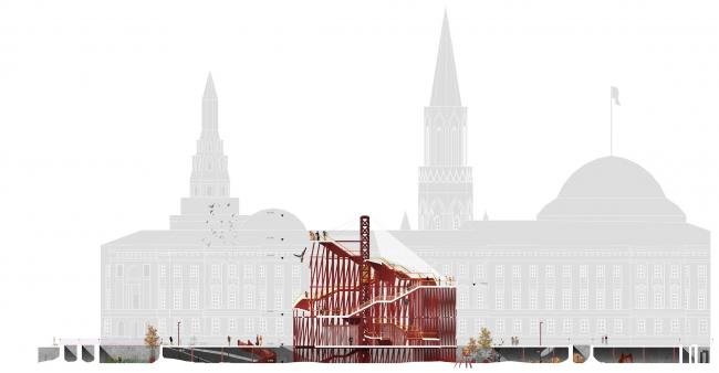 Павильон в Кремле. Дипломный проект Азамата Нырова. Студия архитектурного бюро «Меганом». Разрез. МАРХИ, 2016