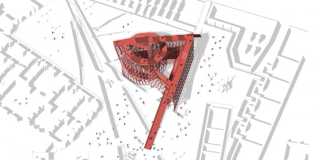 Павильон в Кремле. Дипломный проект Азамата Нырова. Студия архитектурного бюро «Меганом». Ситуация. МАРХИ, 2016