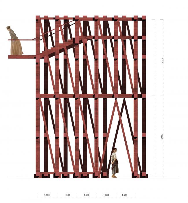 Павильон в Кремле. Дипломный проект Азамата Нырова. Студия архитектурного бюро «Меганом». Фасад. МАРХИ, 2016