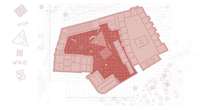 Павильон в Кремле. Дипломный проект Азамата Нырова. Студия архитектурного бюро «Меганом». План. МАРХИ, 2016