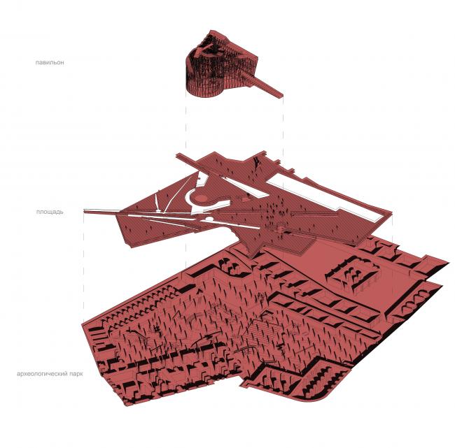Павильон в Кремле. Дипломный проект Азамата Нырова. Студия архитектурного бюро «Меганом». Схема. МАРХИ, 2016