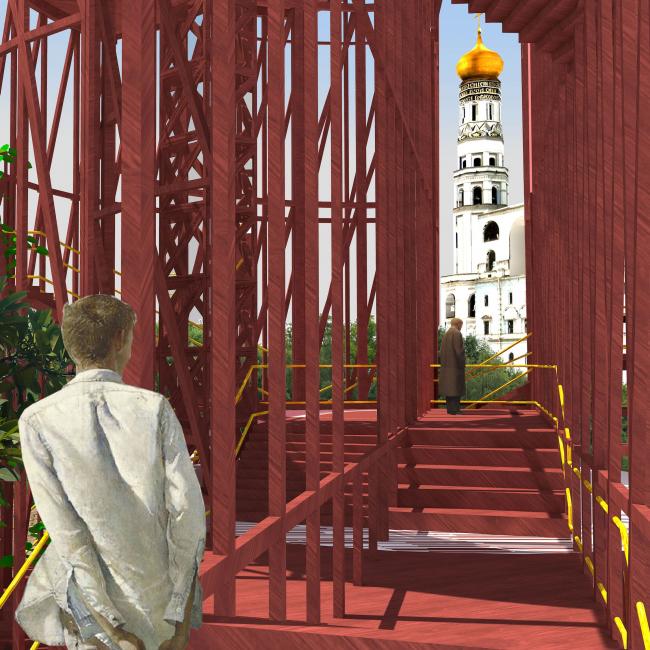 Павильон в Кремле. Дипломный проект Азамата Нырова. Студия архитектурного бюро «Меганом». МАРХИ, 2016