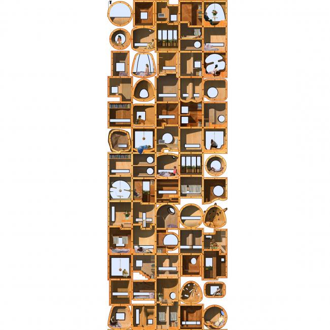 Кондомини(м)ум. Дипломный проект Стаса Козина. Студия архитектурного бюро «Меганом». Фрагмент разреза. МАРХИ, 2016