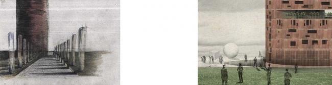 Дипломная работа Дарьи Зайцевой «Городская тюрьма». Руководители: Евгений Асс, Кирилл Асс. Путь для привоза заключенных и вид на прогулочную территорию © МАРШ, 2016
