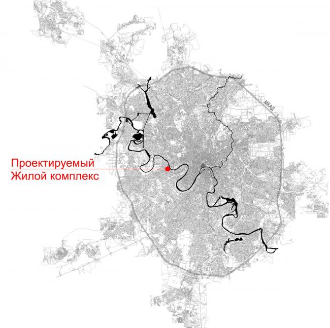 Многофункциональный жилой комплекс в Кутузовском проезде. Расположение в Москве © ABD Architects