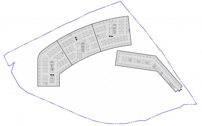Многофункциональный жилой комплекс в Кутузовском проезде. План подземного паркинга © ABD Architects