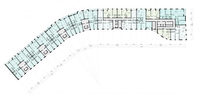 Многофункциональный жилой комплекс в Кутузовском проезде. План типового этажа © ABD Architects