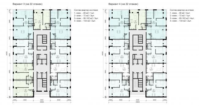 Многофункциональный жилой комплекс в Кутузовском проезде. Варианты типовых планировок башен © ABD Architects