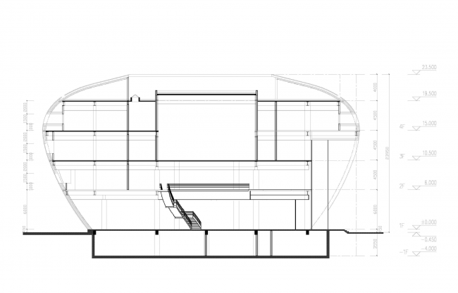 The headquarters of Baltic Pearl LTD. Section view © Sergey Tsytsin Architects