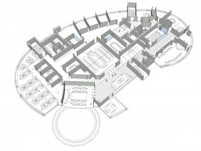 Центральный офис ЗАО «Балтийская жемчужина». Аксонометрия © Архитектурная мастерская Цыцина