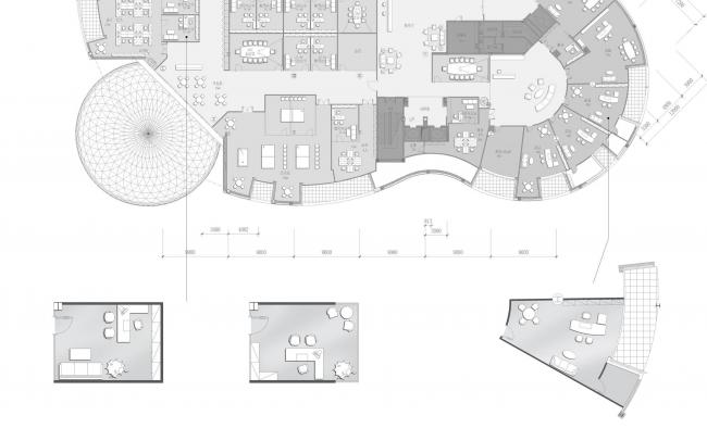The headquarters of Baltic Pearl LTD. Plan fragments © Sergey Tsytsin Architects