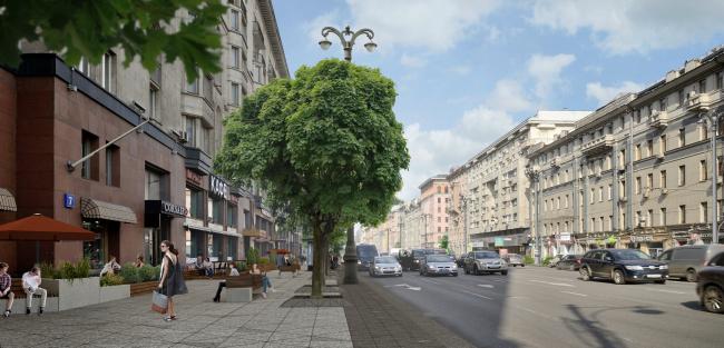 Концепция благоустройства улиц Тверская и 1-я Тверская-Ямская © «План_Б»