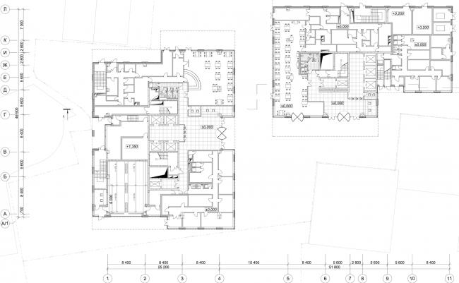 """Danilov Plaza"" multifunctional project. Plan of the fist floor © SPEECH"
