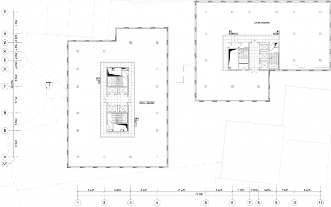 """""""Danilov Plaza"""" multifunctional project. Plan of the typical floor © SPEECH"""