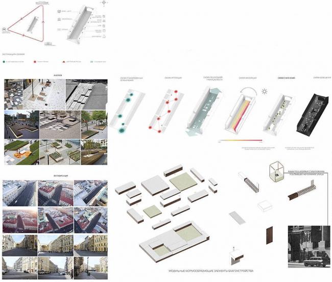 """Концепция благоустройства Большой Морской улицы. Авторы: cтудия ландшафтного дизайна """"Derevo Park"""""""