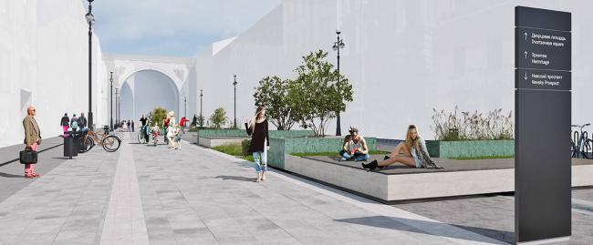 Концепция благоустройства Большой Морской улицы. Проект из отвергнутых жюри. Авторы: Bright Ideas Zone