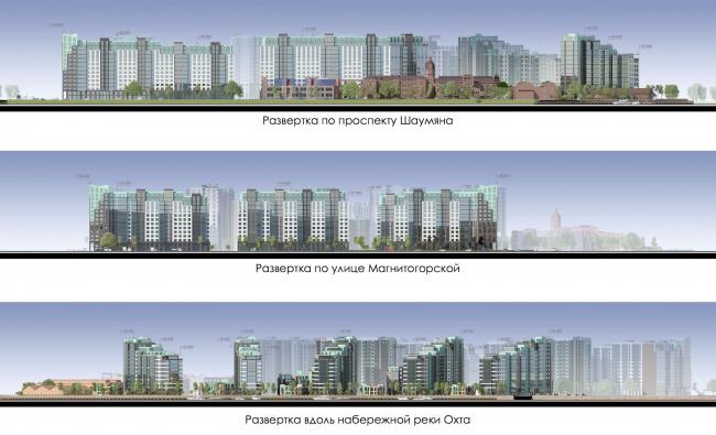 Жилой комплекс на Магнитогорской улице. Развертки. Проект, 2016 © Бонава Санкт-Петербургava