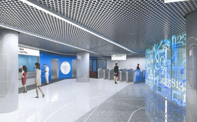 Утверждённый проект дизайна станции «Ломоносовский проспект». Изображение предоставлено мэрией Москвы