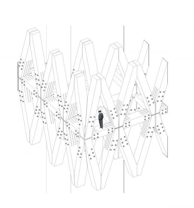 Курсовой проект Артёма Польского на тему «Деревянная башня». Фрагмент фасада. Студия Николая Белоусова. МАРШ, 2016