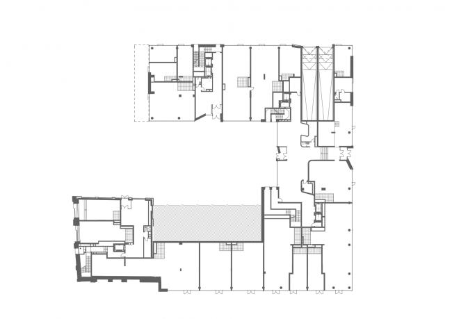 Residential project at Novoslobodskaya Street. Plan of the 1st floor © ADM