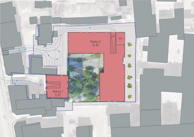 Residential project at Novoslobodskaya Street. Master plan © ADM