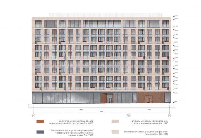 Жилой дом на ул. Новослободская. Фасады. Проект, 2016 © ADM